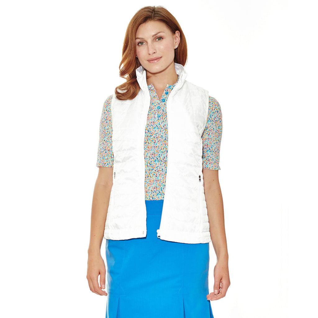 Hold On Quilted lightweight Vest in white.