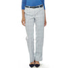 Blue Mockingbird women's golf pants in blue, green and white subtle plaid stretch fabric and pockets in front and back.