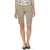 "Chestnut Woodpecker women's golf shorts, 11"" Bermuda length in taupe stretch fabric with two side seam pockets."
