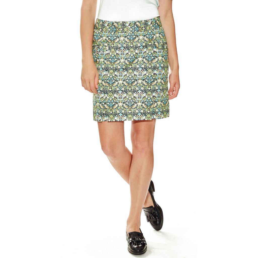 "Montecito women's golf skort, pleated, 18.5"" length in William Morris for Liberty of London fabric with 6 pleats."