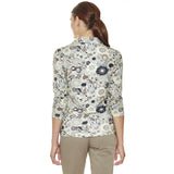 Mourning Dove ¾ Sleeve women's golf shirt in Liberty of London print with v-neck collar and longer sleeves for extra sun protection.