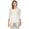 Silver Beaked Tanager ¾ Sleeve women's golf shirt with v-neck, collar and longer sleeves for sun protection in blush.