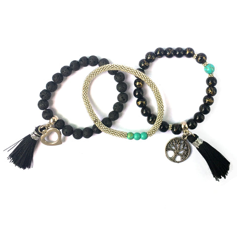 Lava Stone Charm Bracelet | The Nomadic Trails : Sustainable Fashion