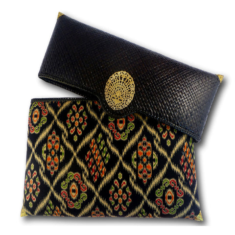 Annika Black Rattan Clutch with Ikat
