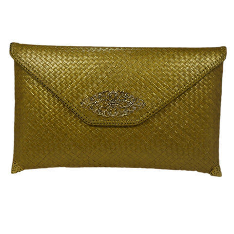 Gold Envelope Rattan Clutch