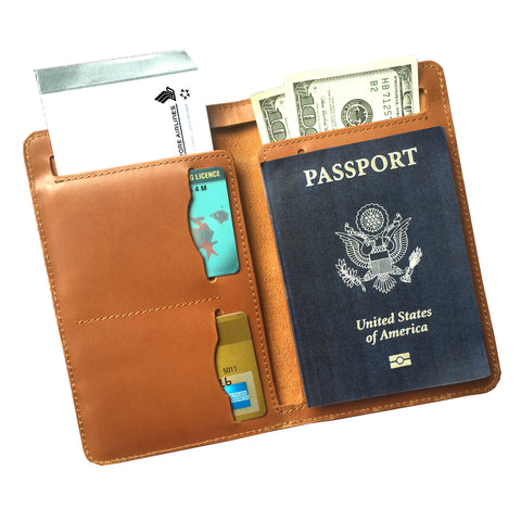 Genuine leather passport holder. Unisex travel item. Free shipping above $60