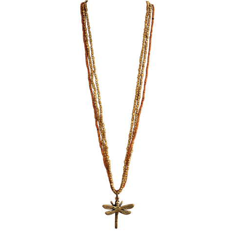 Barasata Dragonfly Necklaces - Tangerine