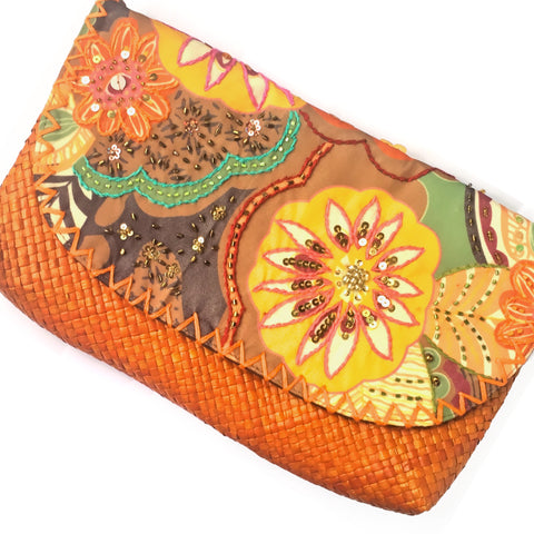 Orange Tribal Envelope Clutch