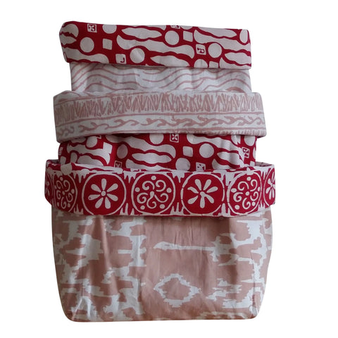 Red Taupe - Reversible Fabric Bins (set of 3)