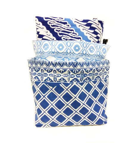 Triple Ocean Blue - Reversible Fabric Bins (set of 3)