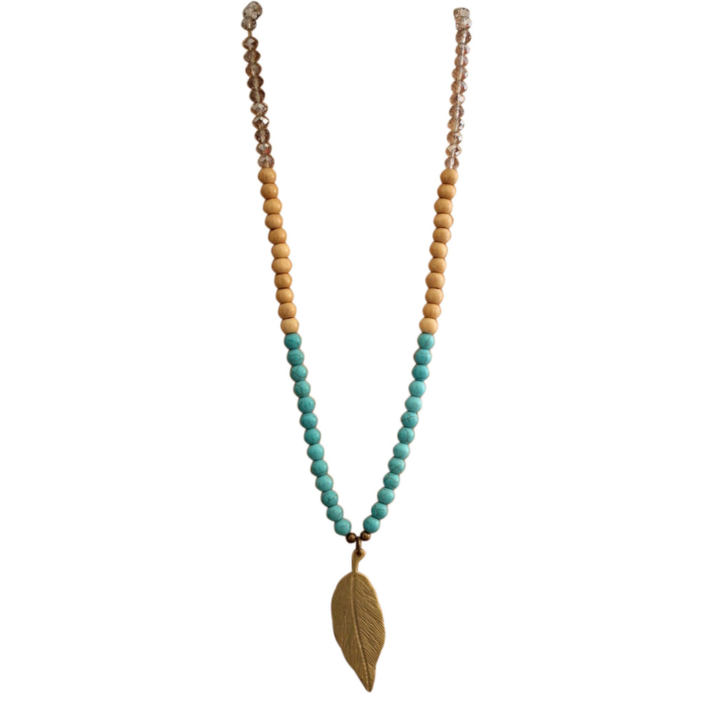 Zirra Beads and Leaf Necklace. Handcrafted in Bali | The Nomadic Trails