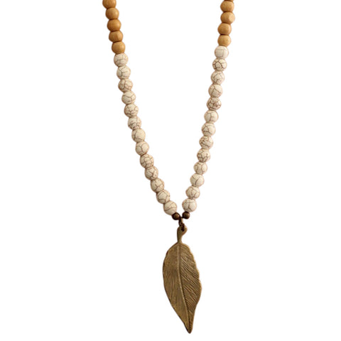 alt = Zirra Beads and Leaf Necklace | The Nomadic Trails