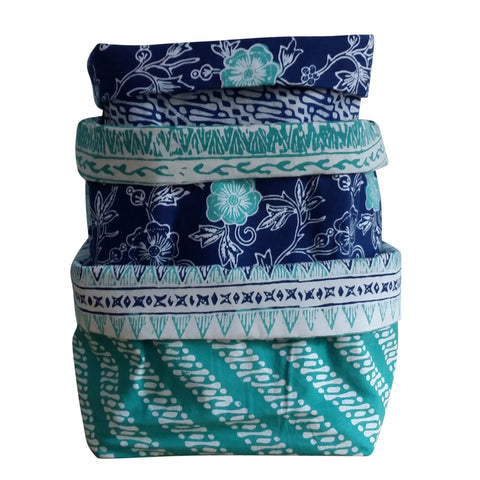Island Blue - Reversible Fabric Bins (set of 3)