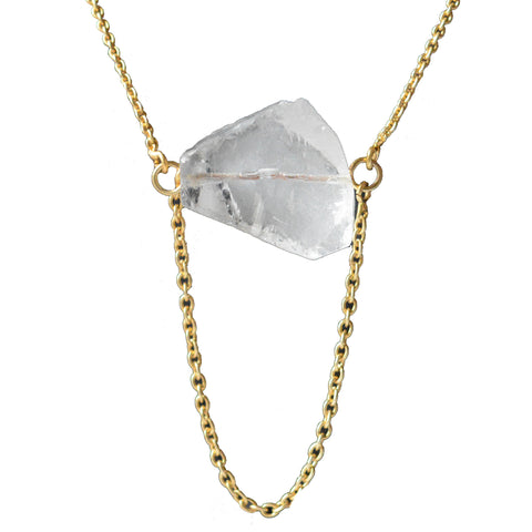 Crystal Quartz Stone With Gold Chain