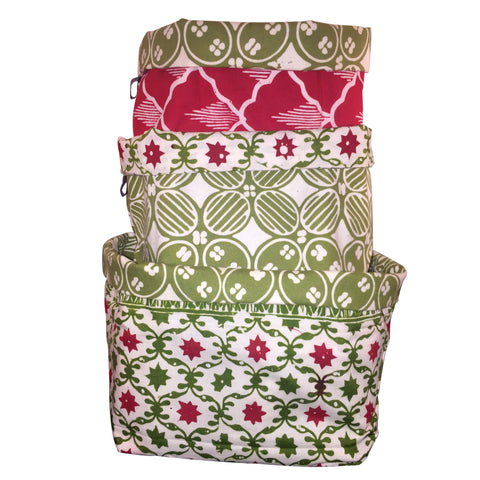 Festive Green - Reversible Fabric Bins (set of 3)