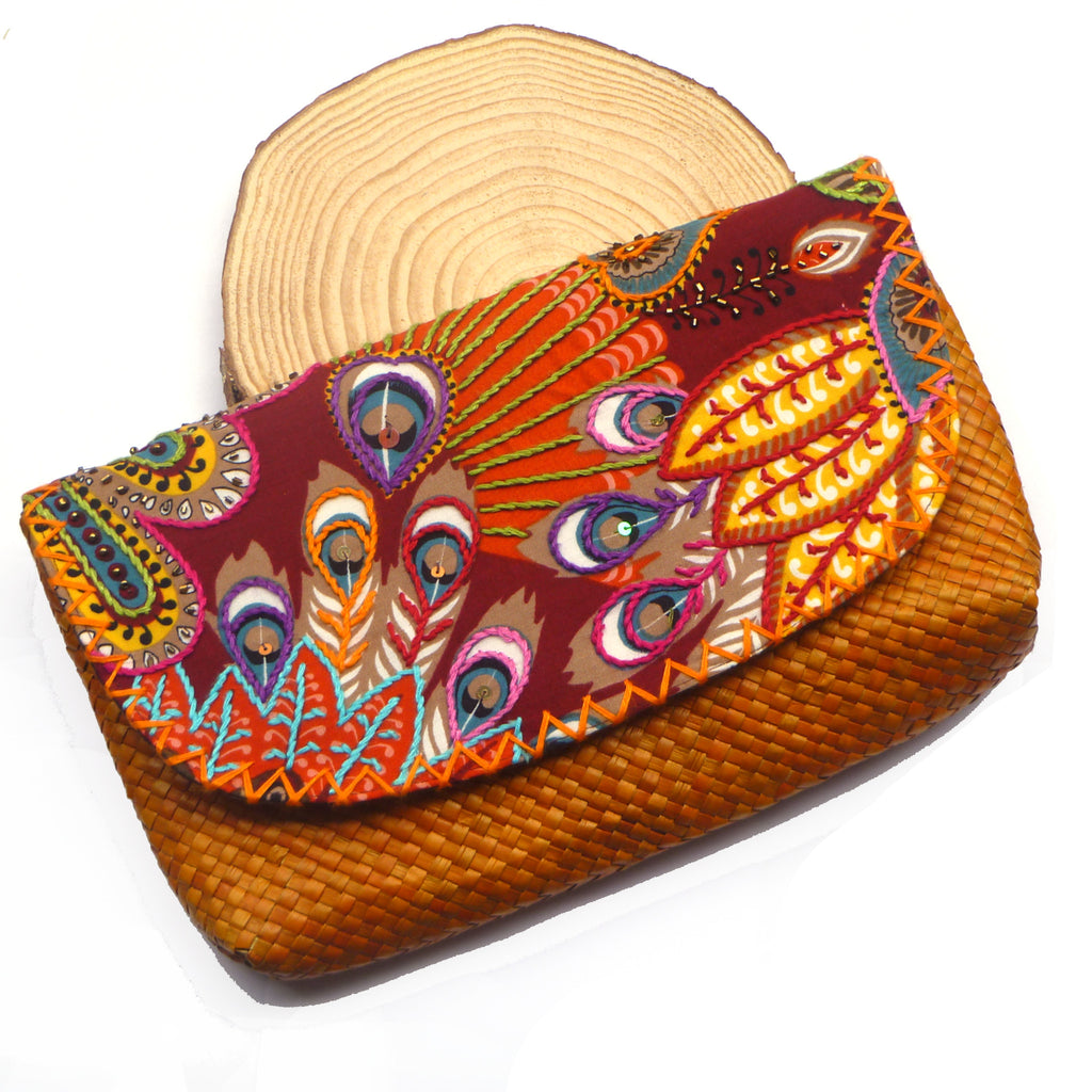 Orange Woven Clutch | Sustainable Fashion | The Nomadic Trails