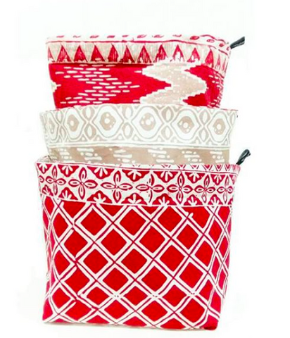 Red Khakis - Reversible Fabric Bins (set of 3)