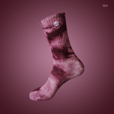 [LIMITED EDITION] WM Tie Dye Crew Socks Maroon