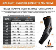 Enhanced Graduated Arm Sleeves - Size Chart