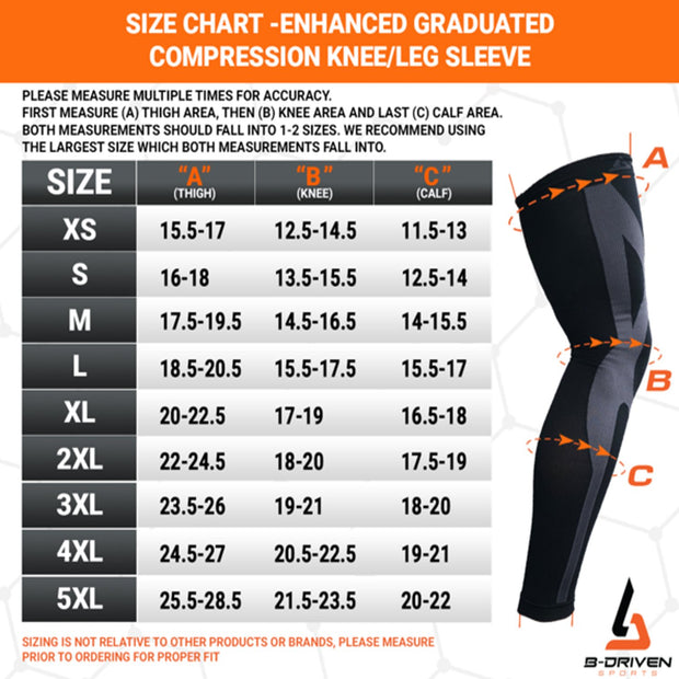 Size Chart Enhanced Graduated Compression | Leg Sleeves