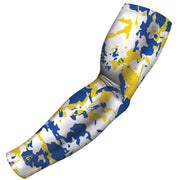 pro compression arm sleeves flaked camo blue yellow b driven