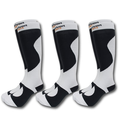 Copy of 3-Pack Graduated Compression Socks White/Black