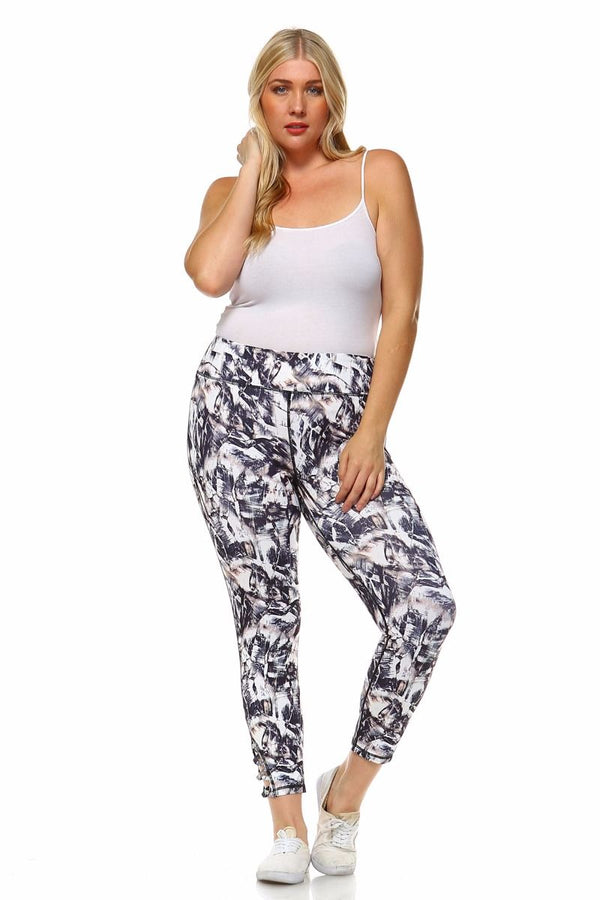 PLUS SIZE ABSTRACT CRISS CROSS ACTIVE LEGGINGS