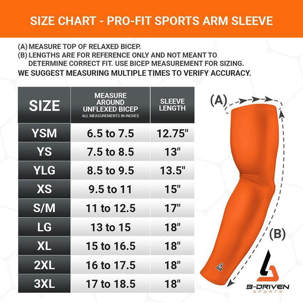 Gold - Yellow Arm Sleeve Size Chart