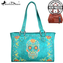 Montana West Sugar Skull Collection Concealed Handgun Wide Tote
