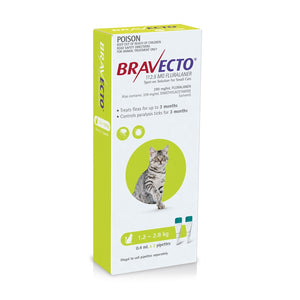 BRAVECTO SPOT-ON CAT 1.2-2.8KG 3 MONTHLY GREEN
