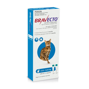 BRAVECTO SPOT-ON CAT 2.8-6.25KG 3 MONTHLY BLUE