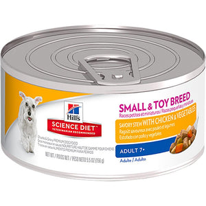 HILLS SCIENCE DIET DOG CHICKEN & VEGETABLE STEW SMALL & TOY BREED ADULT 7+ 156G x 24