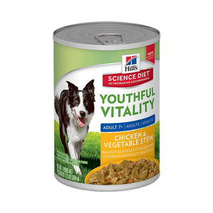 HILLS SCIENCE DIET DOG YOUTHFUL VITALITY CHICKEN & VEGETABLE ADULT 7+ 354G x 12