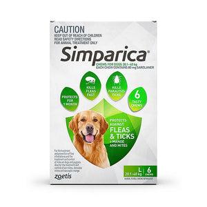 SIMPARICA DOG 20.1-40KG GREEN 6 PACK