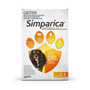 SIMPARICA DOG 5.1-10KG ORANGE 6 PACK