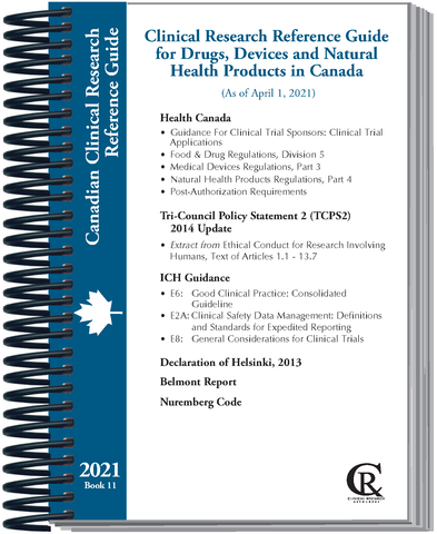 PRE-ORDER Book 11: 2021 Clinical Research Guide for Drugs, Devices, and Natural Health Products in Canada