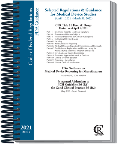 PRE-ORDER Book 2:  2021 Selected Regulations and Guidance for Medical Device Studies