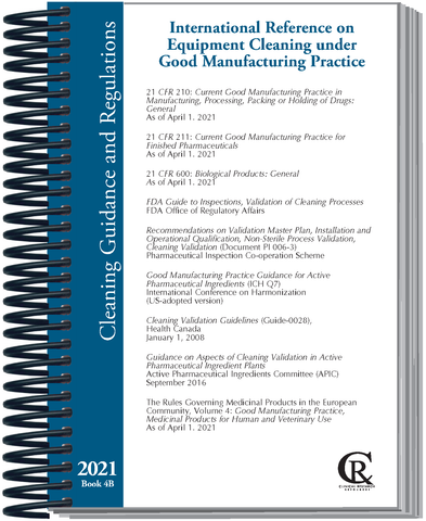 PRE-ORDER Book 4B:  2021 International Reference on Cleaning Validation under Good Manufacturing Practice