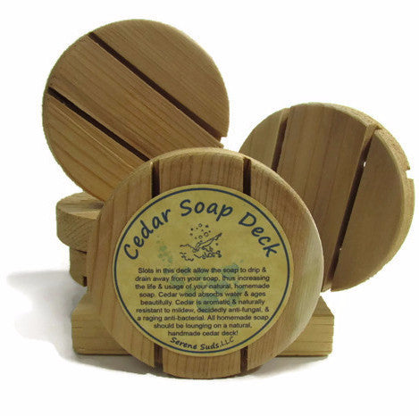 "alt = ""natural cedar soap deck footed"""