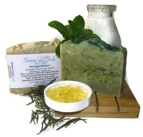 "alt = ""natural rosemary peppermint soap invigoration kefir"""