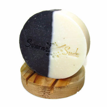 "alt = ""Patchouli Cedar Natural Soap Round White Black"""
