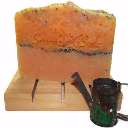 "alt = ""gardener's soap essential oils cornmeal poppy seeds exfoliating natural cedar deck"""