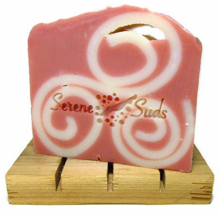 "alt = ""pink clay natural soap with curls and pink grapefruit and lime essential oil artisan"""