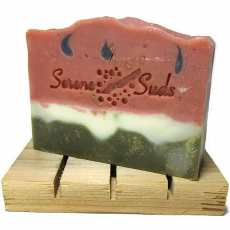 "alt = ""watermelon sandia summer natural artisan soap rose clay spirulina citrus essential oils"""