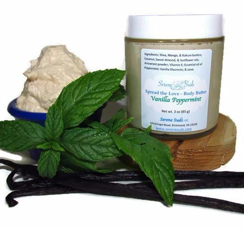 "alt = ""body butter vanilla peppermint all natural whipped spread the love"""