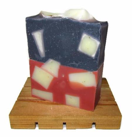 "alt = ""Hip to be Square blue Pink Squares Natural Artisan Soap Indigo Powder Rose Clay"""