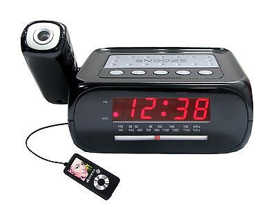 JENSEN JCR222R RED CLOCK RADIO AM FM PROJECTION
