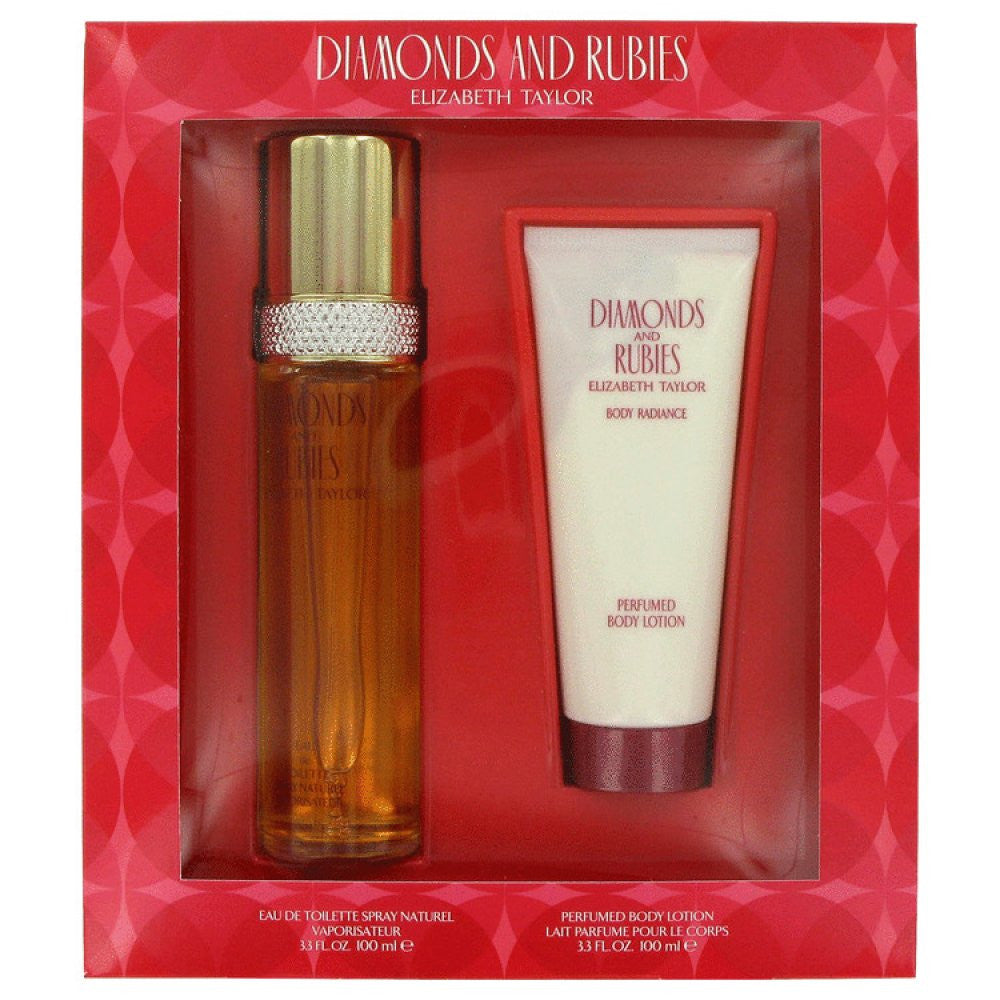 Diamonds & Rubies By Elizabeth Taylor Gift Set -- 3.3 Oz Eau De Toilette Spray + 3.3 Oz Body Lotion