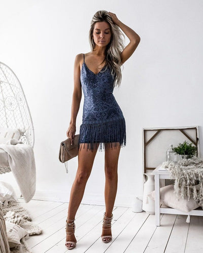 Shimmy Dress - Steel Blue