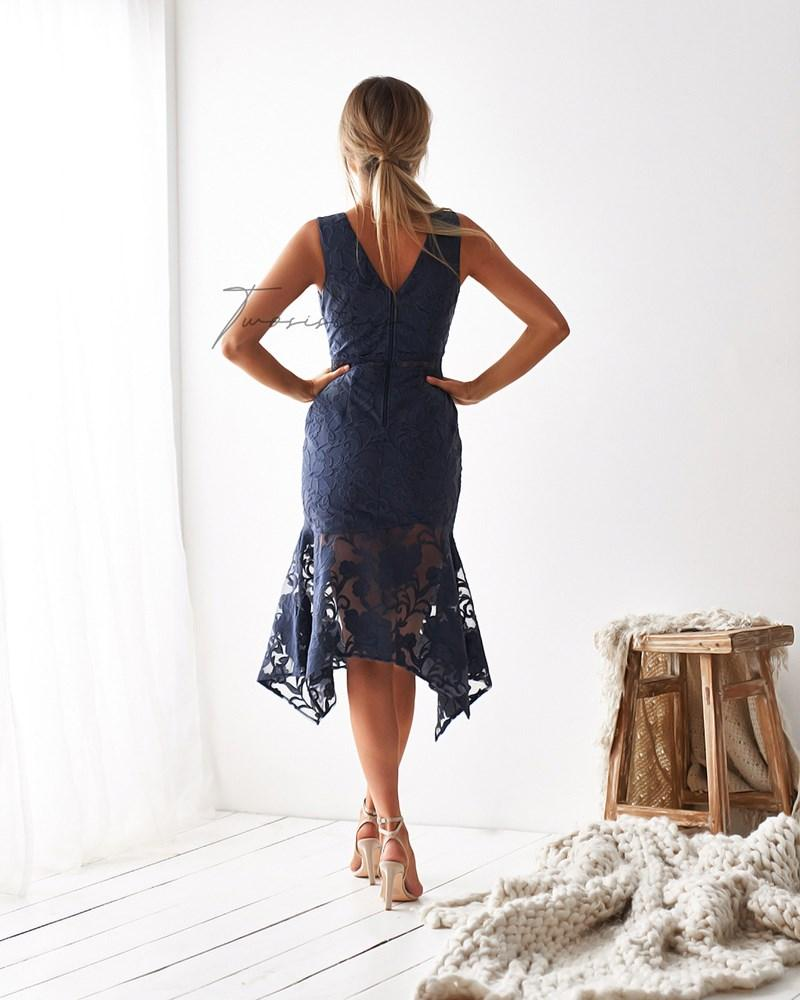 Ivory Dress - Steel Blue
